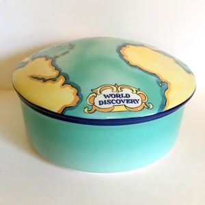 "Tiffany Trinket Box 5"" Round Ceramic World Map Lid"